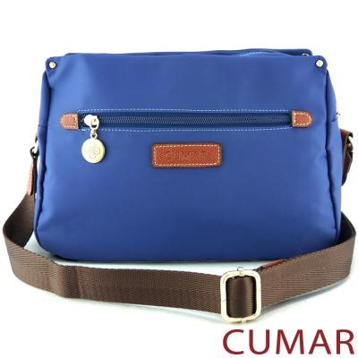 CUMAR 輕量防潑水尼龍三隔層斜背小包-藍