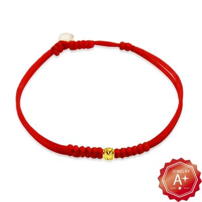 A+ 圓滿 千足黃金轉運珠紅繩手鍊