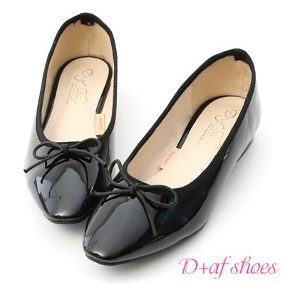 D+AF 氣質典雅.漆皮低跟芭蕾娃娃鞋*黑