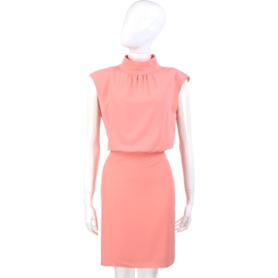 MOSCHINO 粉色小立領無袖洋裝