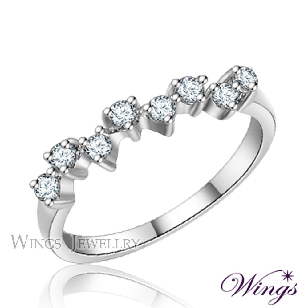 Wings 滿天星 纖細美麗的優雅 精鍍白K金戒指 尾戒