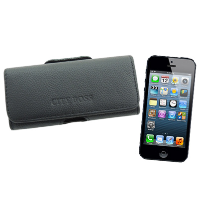 City boss iPhone5/5S/SE真皮橫式腰掛保護皮套