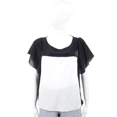 CLASS roberto cavalli 黑白拼接荷葉袖紗質上衣
