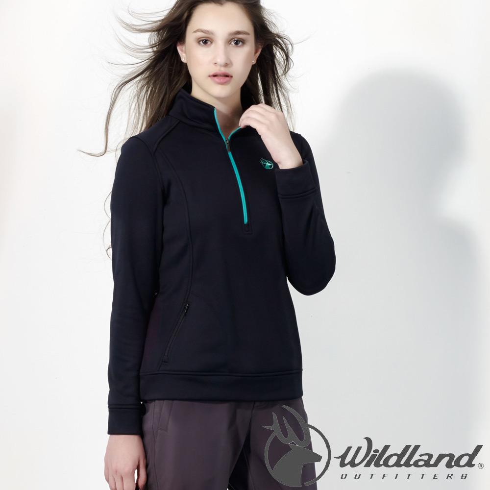 Wildland荒野0A32601-54黑色女雙色輕量保暖上衣