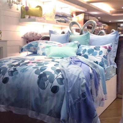 義大利La Belle 墨湘綠影 加大天絲八件式兩用被床罩組
