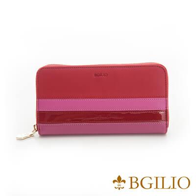 義大利Bgilio Nappa軟牛皮獨特配色拉鍊長夾-紅色-1942.323B-01
