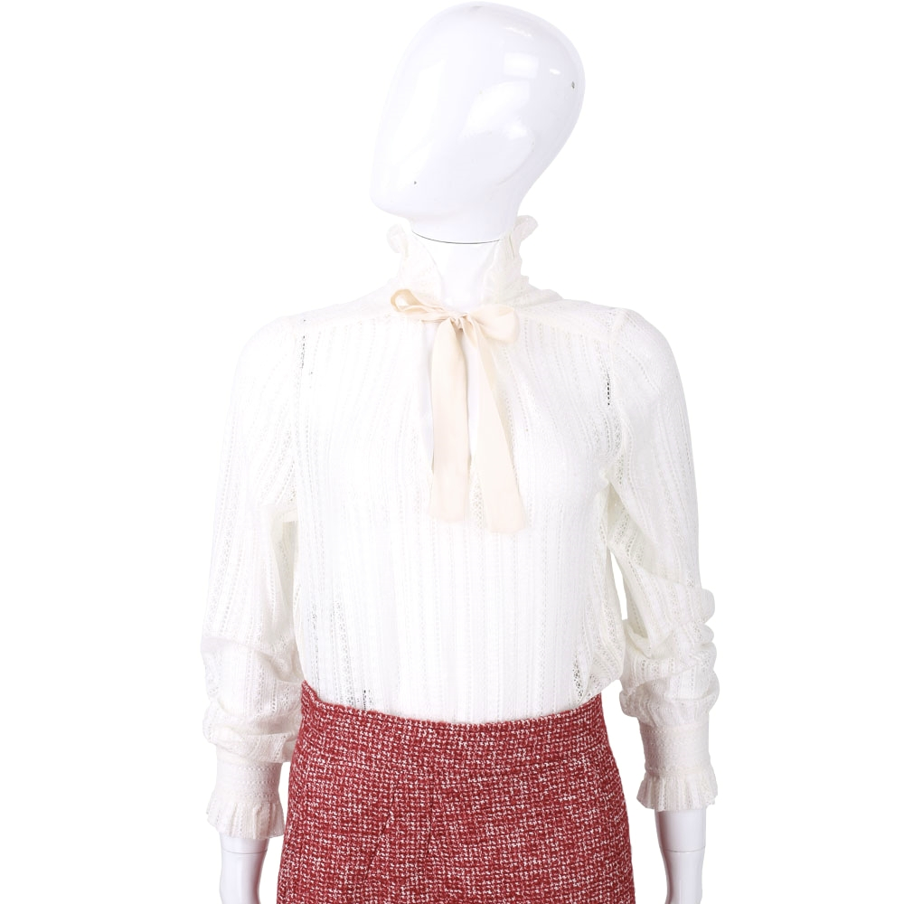 PHILOSOPHY 米色立領織紋蕾絲上衣