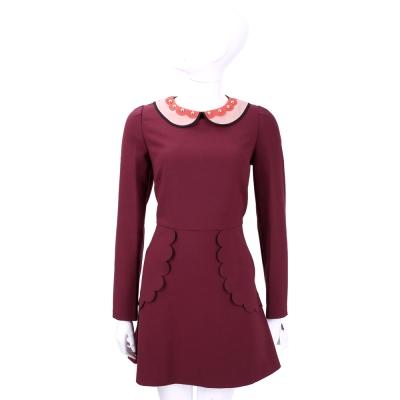 RED VALENTINO 領口鉚釘飾暗紅色長袖洋裝