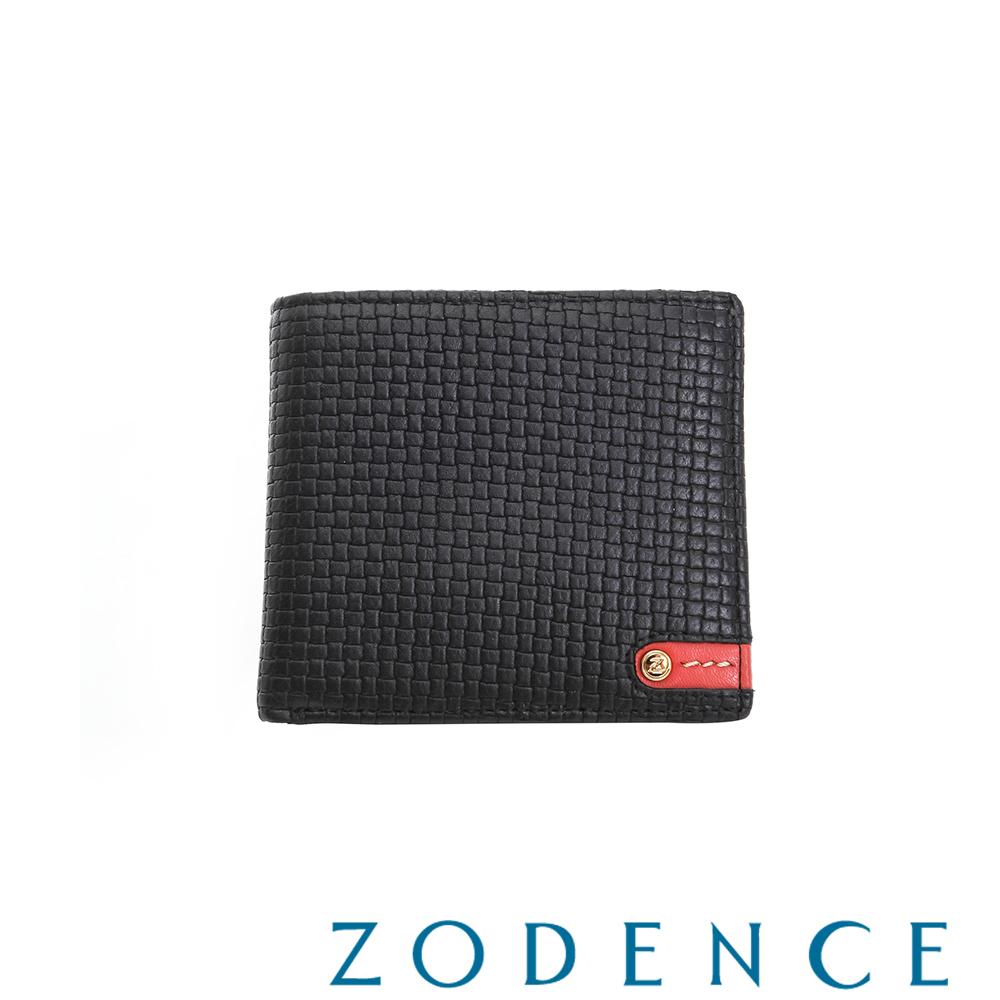 ZODENCE MAN 義大利牛皮系列紅底配色LOGO拉鍊零錢袋短夾 織紋黑