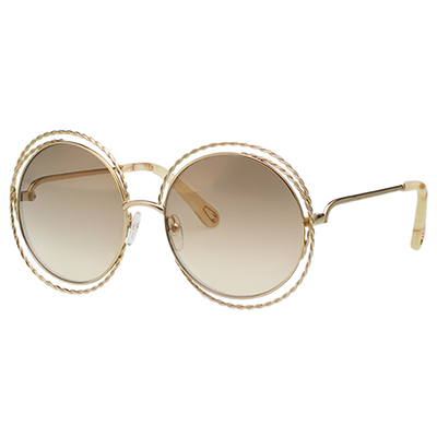 CHLOE 金屬大圓 薄水銀 太陽眼鏡 (金配咖啡) CE114ST