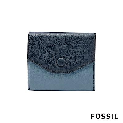 FOSSIL LAINEY 鈕扣真皮皮夾 小夾-藍色款
