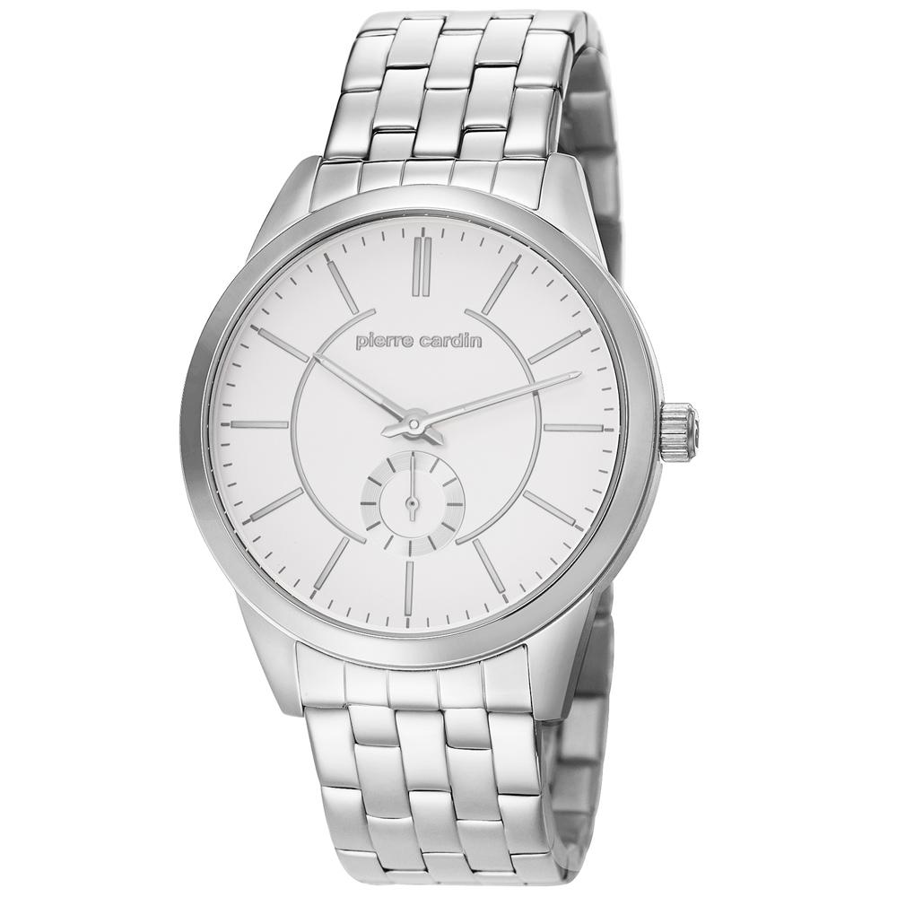pierre cardin皮爾卡登 城市之光小秒盤腕錶-白x銀/43mm