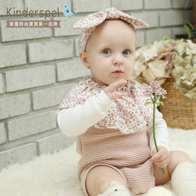 Kinderspel 歐萌公主‧ 造型純棉髮帶 (蝴蝶結-粉灰碎花)