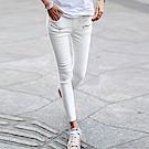 正韓 鬆緊腰拉鍊裝飾彈性窄管褲 (共二色)-N.C21