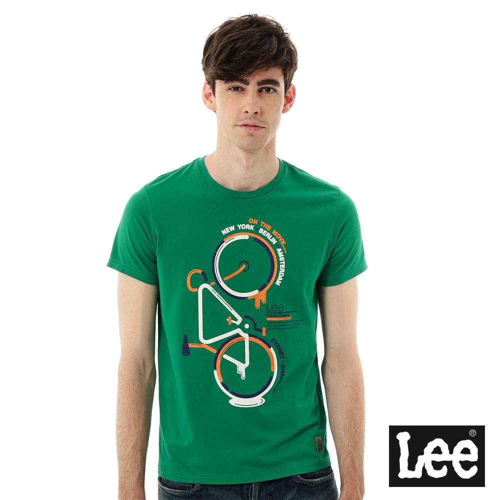 Lee 短袖腳踏車印刷T恤/UR-男款-藍