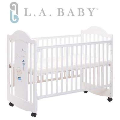 ( 美國 L.A. Baby) 達拉斯嬰兒床/搖擺中床/童床/原木床(白色)