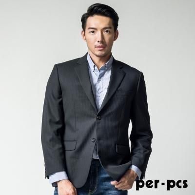 per-pcs 層次組織條紋毛料西裝外套_黑條(814302)