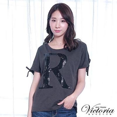 Victoria 亮片繡開肩袖口綁帶短袖T-女-深灰