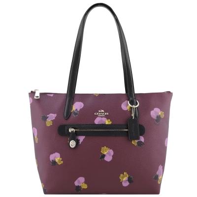 COACH 馬車印花防刮皮革手提肩背包(玫紫)