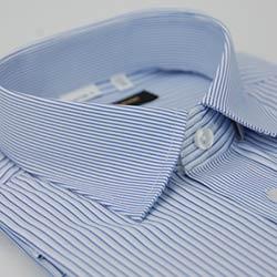 金‧安德森 藍白條紋相間變化領窄版短袖襯衫