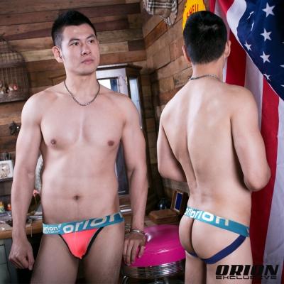 男內褲 運動型男提臀性感後空(藍邊粉) ORION