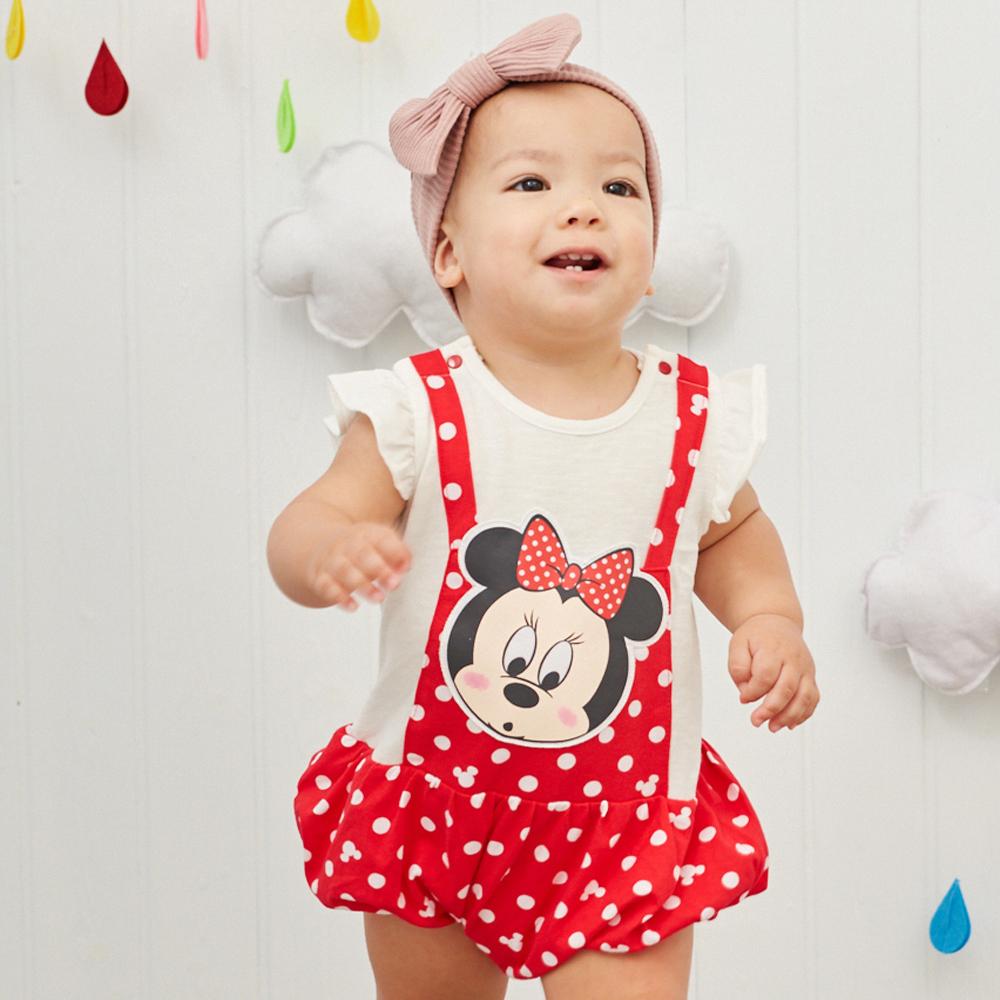 Disney baby 米妮系列荷葉吊帶假二件連身裝 (2色可選)