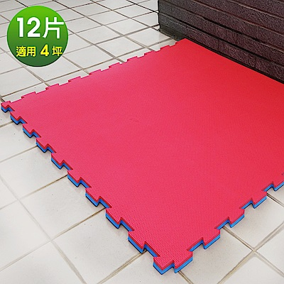 Abuns 百大厚2CM紅藍雙色十字紋運動地墊-12片(適用4坪)