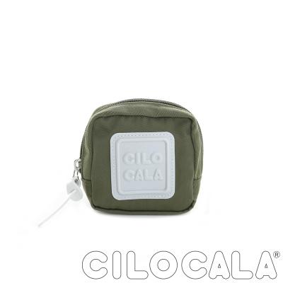 CILOCALA 亮彩尼龍防潑水可扣式零錢包 橄欖綠色