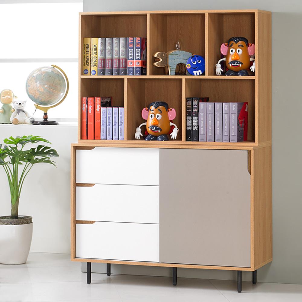 Homelike 米亞4尺收納書櫃-121x40x175cm