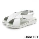HANNFORT Ultra Flex 3D運動時尚交叉涼鞋-女-率性白
