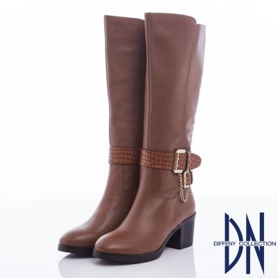 DN 俐落經典 牛皮拼接金屬踝釦粗跟長靴-咖