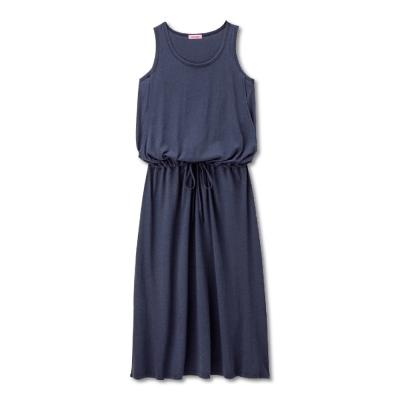 日本Akasugu-哺乳無袖連身長裙-深藍-卡其