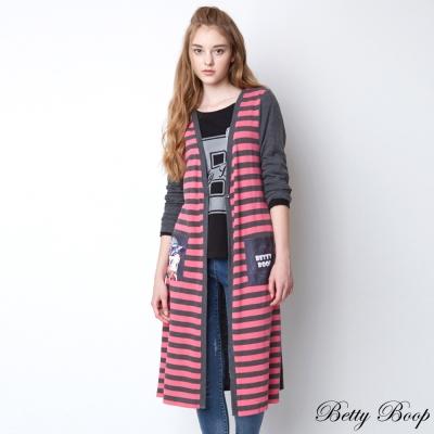 Betty Boop 印圖口袋條紋針織長版外套(共三色)