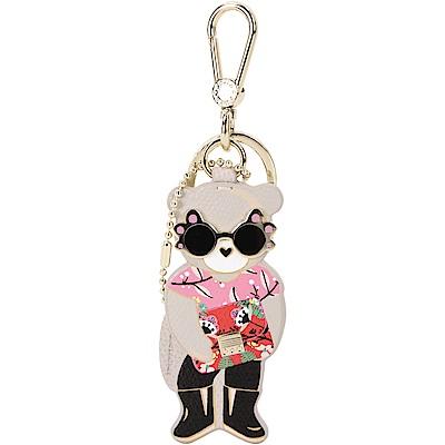 FURLA LADY BLOGGER 時髦熊牛皮鑰匙圈(灰色)