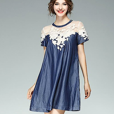 ABELLA 艾貝拉 透膚立體釘珠雕花單寧面料寬鬆洋裝(S-5XL)