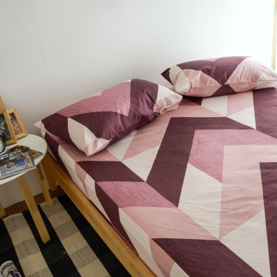 絲薇諾 MIT精梳純棉 笛卡兒-紅 加大三件式-床包枕套組