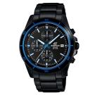 EDIFICE 精準時刻賽車計時黑離子IP腕錶(EFR-526BK-1A2)-黑X藍圈/45mm