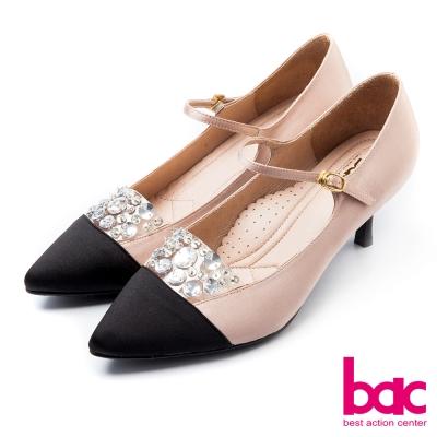 bac古典高雅閃亮拼接雙色尖頭瑪莉珍高跟鞋杏