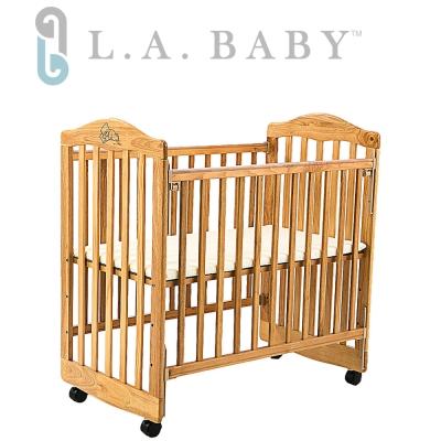【美國 L.A. Baby】蒙特維爾美夢熊小床嬰兒床/實木(原木色)適用育嬰 託嬰中心