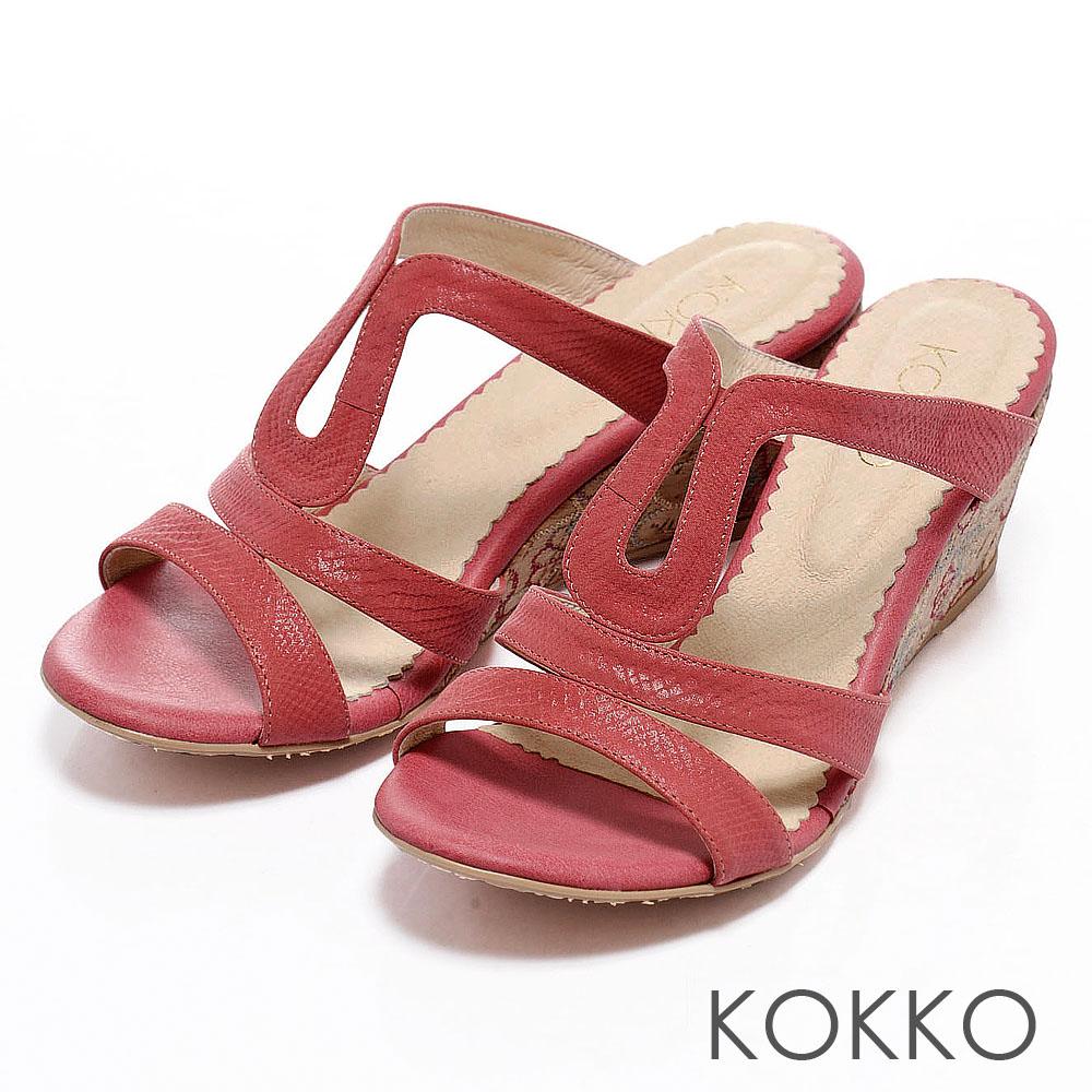 KOKKO夏日陽光氣息‧印花圖騰厚底楔形涼鞋 - 熱情紅