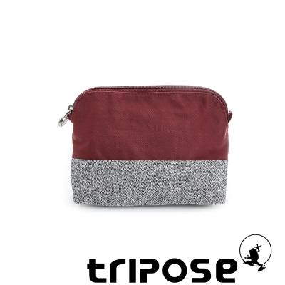 tripose 漫遊系列岩紋撞色微旅化妝包 - 紅