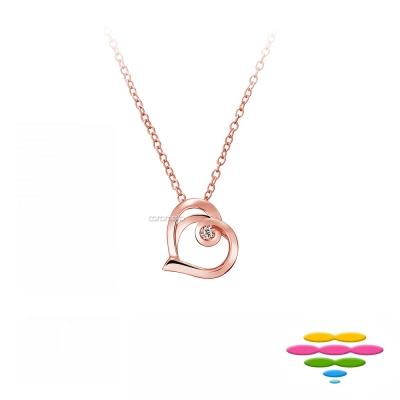彩糖鑽工坊 玫瑰金 愛心鑽石項鍊 情有獨鍾系列