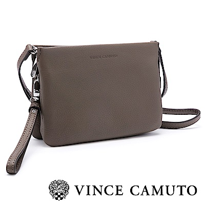 VINCE CAMUTO時尚簡約 手拿斜背兩用真皮隨身包-灰色