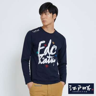 EDWIN EDOKATSU江戶勝草寫家徽長袖T恤-男-丈青