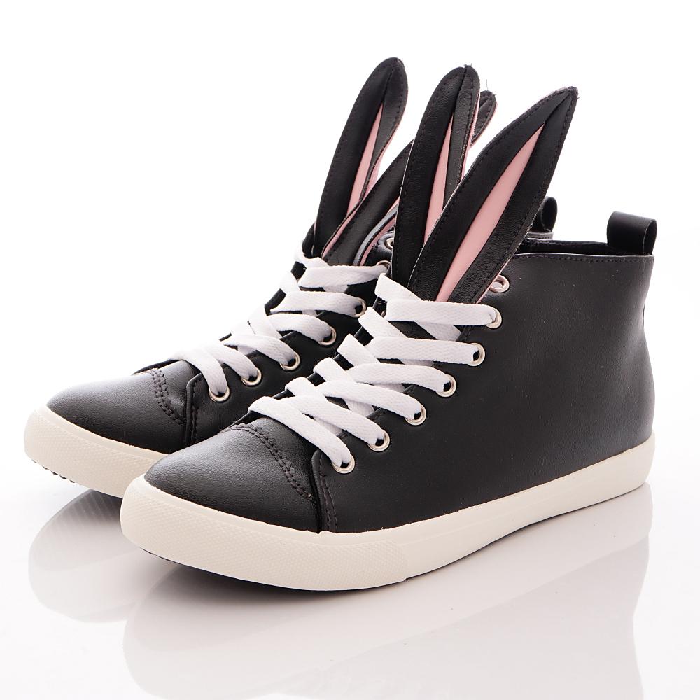 HABU韓版 兔耳朵皮質潮鞋款 K21W-BK 黑 (親子段)T1