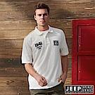 JEEP 潮流美式風格貼布短袖POLO衫-白色