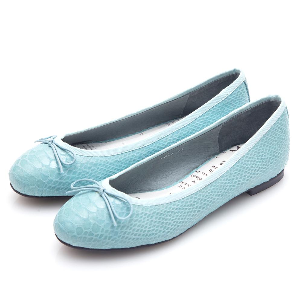 G.Ms. 蛇紋羊皮蝴蝶結芭蕾娃娃平底鞋-淺藍