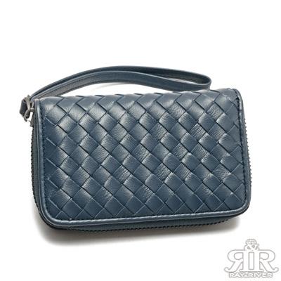 2R-細呢羊皮SuSu編織鑰匙零錢包-深寶藍