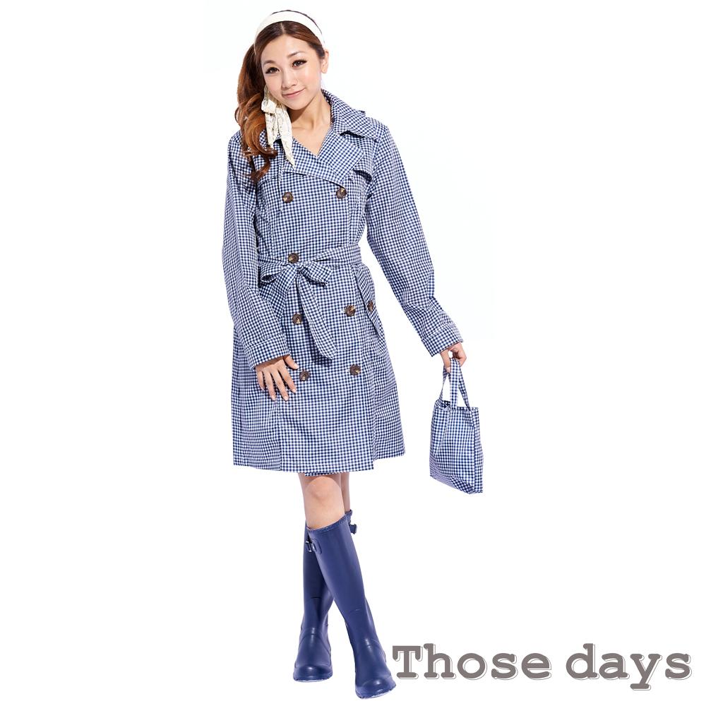 [快]Those days 經典格紋長版美型風衣/雨衣 day915