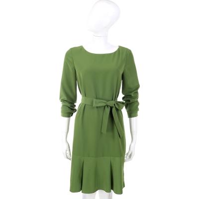 PHILOSOPHY 綠色抓褶下襬綁帶長袖洋裝(附綁帶)